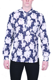 Our Legacy Shawl Zip Shirt blue pink flowers